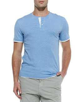 Vince Double-Layer Short-Sleeve Henley, H. Blueberry
