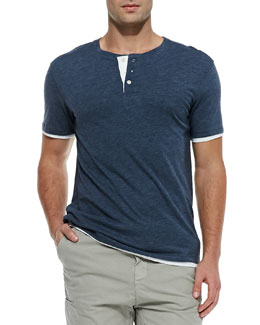 Vince Double-Layer Short-Sleeve Henley, Navy