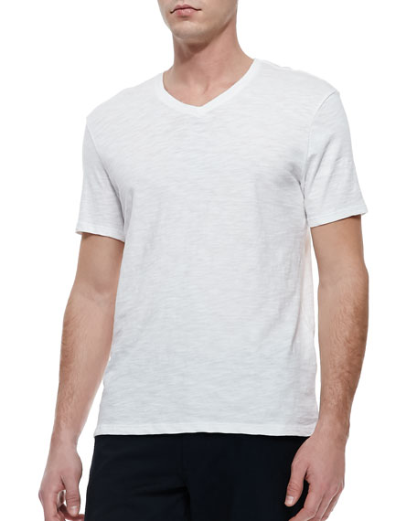 Slub V-Neck Tee, White