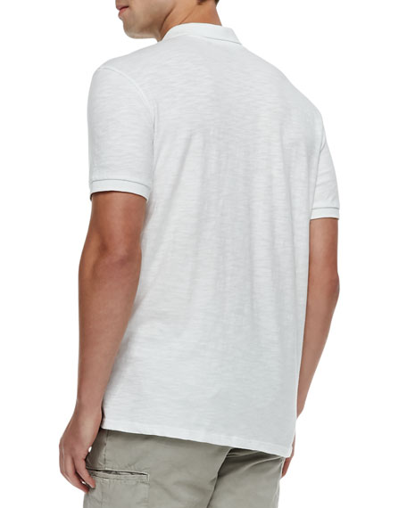 Slub Short-Sleeve Polo, White