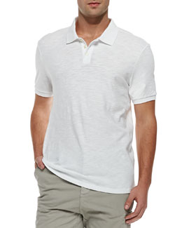 Vince Slub Short-Sleeve Polo, White