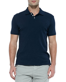 Vince Slub Short-Sleeve Polo, Navy