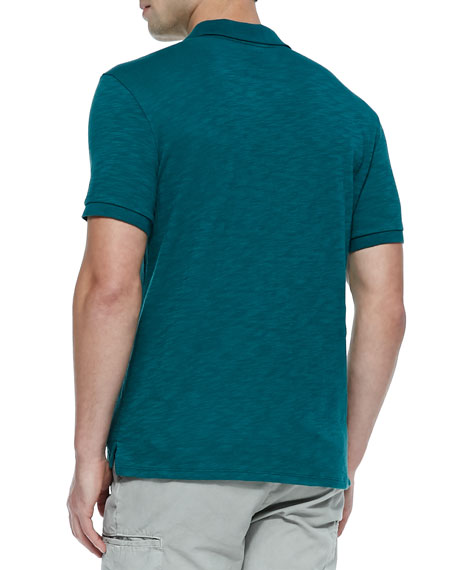 Slub Short-Sleeve Polo, Green