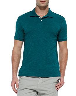 Vince Slub Short-Sleeve Polo, Green