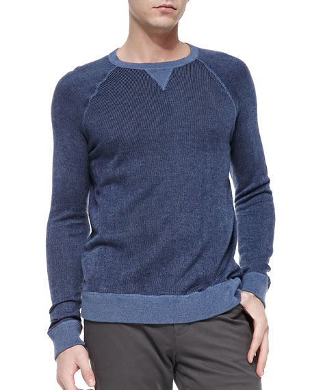 Ribbed Crewneck Pullover Sweater, Blue