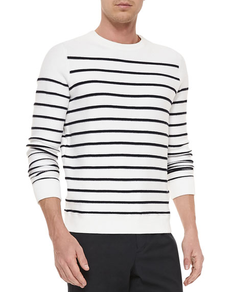 Striped Long-Sleeve Terry Sweater