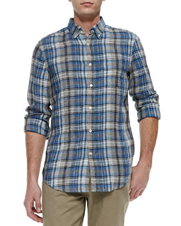 Vince Plaid Button-Down Linen Shirt, Herring