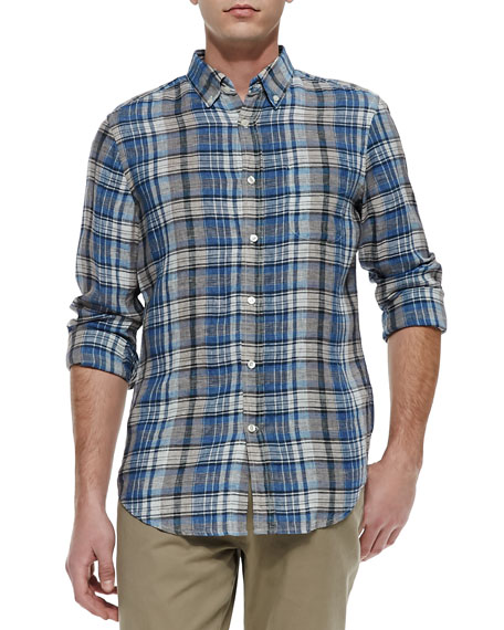 Plaid Button-Down Linen Shirt, Herring