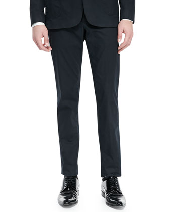 Slim-Fit Stretch-Cotton Trousers, Navy