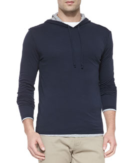 Vince Double-Layer Hoodie Pullover, Navy