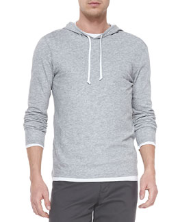 Vince Double-Layer Hoodie Pullover, Heather Steel