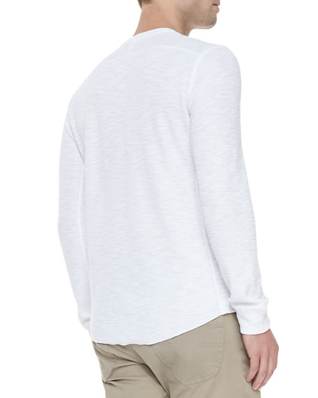 Long-Sleeve Slub Thermal Tee, White