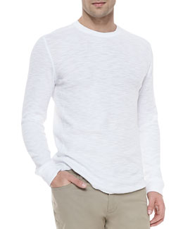 Vince Long-Sleeve Slub Thermal Tee, White