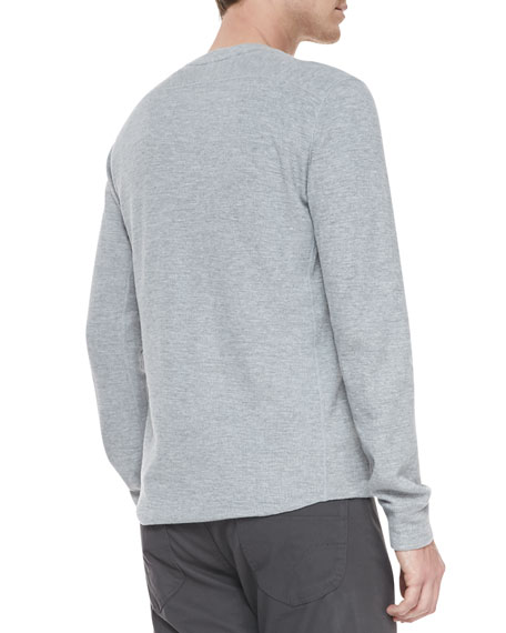 Long-Sleeve Slub Thermal Tee, Gray