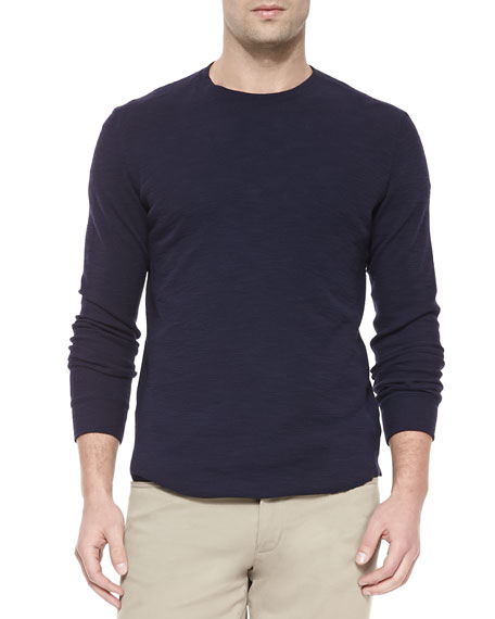 Long-Sleeve Slub Thermal T-Shirt, Navy