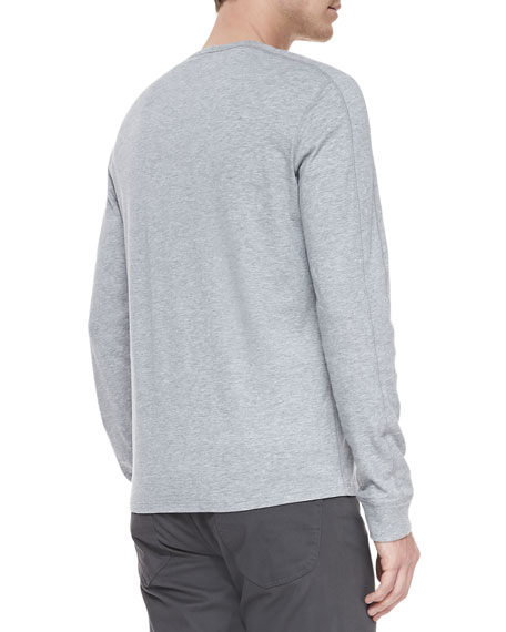 Long-Sleeve Jersey Henley, Gray