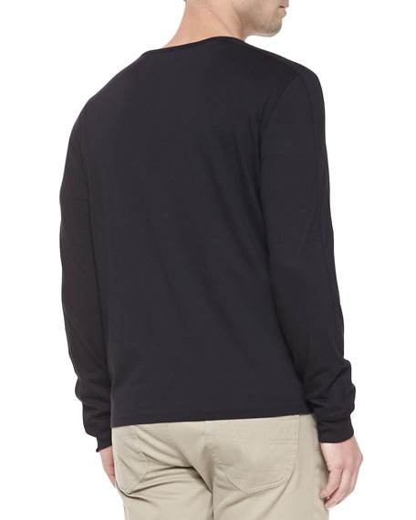 Long-Sleeve Jersey Henley, Black