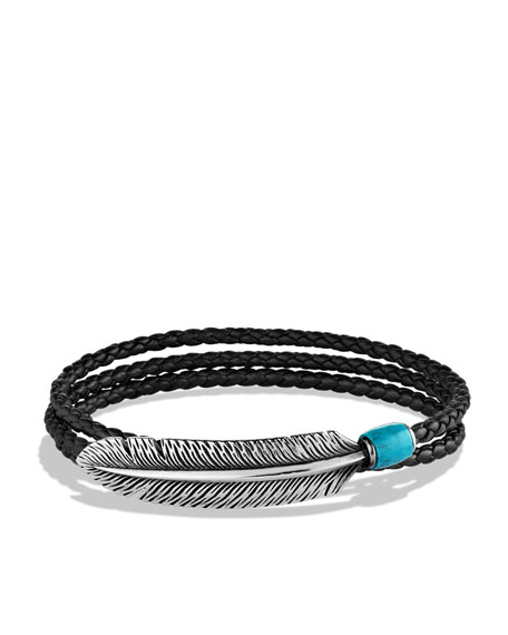 Frontier Feather Triple-Wrap Bracelet in Black with Turquoise