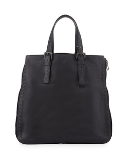 Bottega Veneta Men's Side-Zip Lightweight Woven Tote Bag