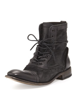 John Varvatos Freeman Raw Edge Lace-Up Boot, Black