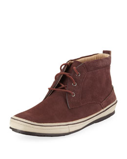 John Varvatos Redding Stamped Suede Chukka, Burgundy