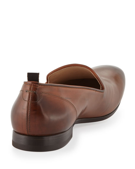 Men's Embossed Skull Loafer, Brown