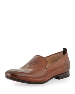 Alexander McQueen Men's Embossed Skull Loafer, Brown