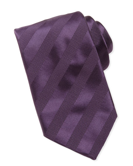 Brioni Textured-Stripe Silk Tie, Purple
