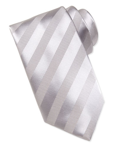 Brioni Textured-Stripe Silk Tie, Silver
