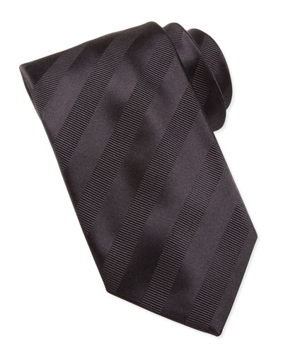 Brioni Textured-Stripe Silk Tie, Black