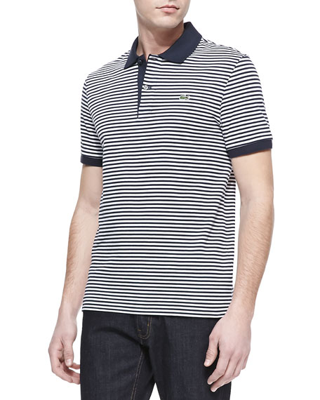 Striped Classic Pique Polo, Navy/White