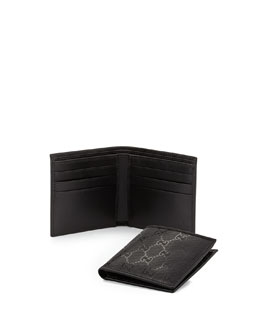 Gucci GG Imprime Leather Bi-Fold Wallet, Black