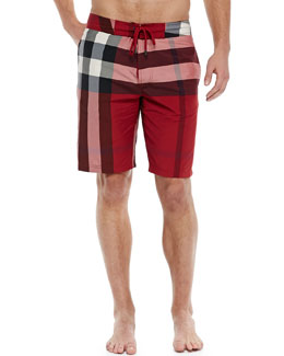 Burberry Brit Check-Print Board Shorts, Red