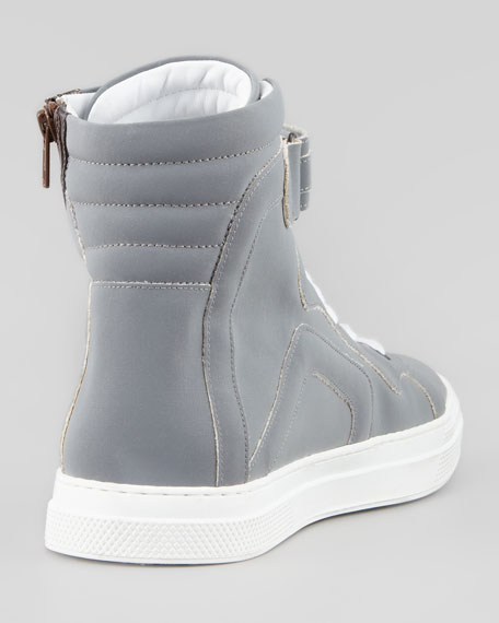Metallic-Side-Zip High-Top Sneaker