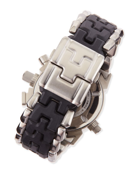 Men's 12 Gauge Brushed Stainless Steel and Carbon Fiber Watch