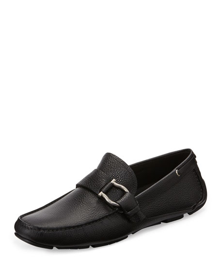 Cabo Pebbled-Leather Driver, Black