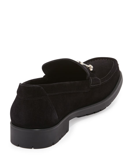 Master Gancini-Bit Suede Loafer, Black