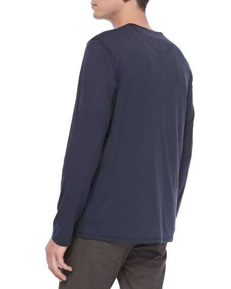 Long-Sleeve Henley Tee, Blue