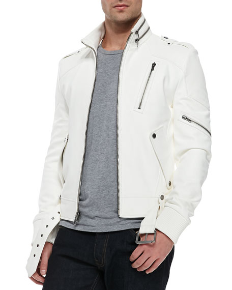 Andrew marc x richard chai easton zip collar moto jacket for Mens white leather shirt