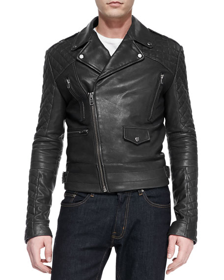 Phoenix Asymmetrical Leather Moto-Jacket, Black