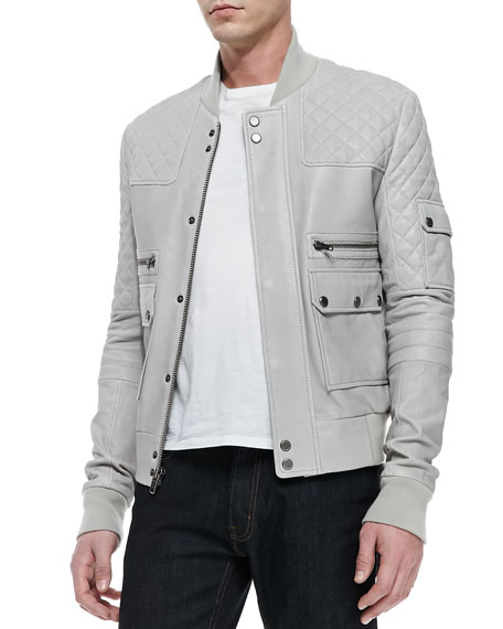 Knox Leather Bomber Jacket, Dove Gray