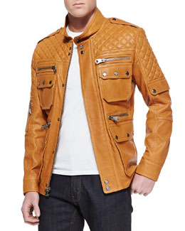 Andrew Marc x Richard Chai Flynn Leather Field Jacket, Light Cognac