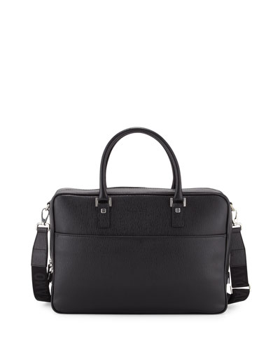 Salvatore Ferragamo Revival Single-Gusset Briefcase, Black