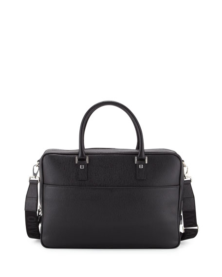Salvatore Ferragamo Revival Single-Gusset Briefcase, Black
