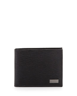 Salvatore Ferragamo Revival Bi-Fold Leather Wallet, Black