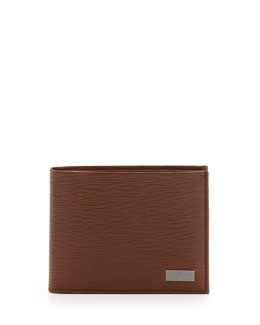 Salvatore Ferragamo Revival Bi-Fold Leather Wallet, Tan