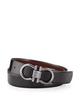 Salvatore Ferragamo Reversible Double Gancini Belt, Brown/Black