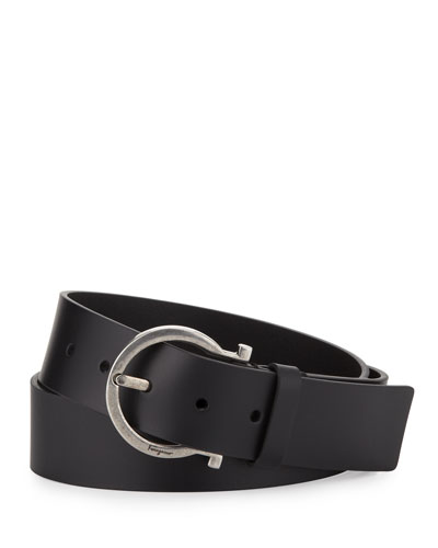 Basic Gancini-Buckle Belt, Black