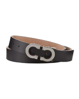 Salvatore Ferragamo Double-Gancini Adjustable Leather Belt, Black