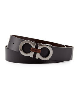 Salvatore Ferragamo Reversible Double-Gancini Belt, Black/Brown